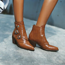 US6 Womens Med Block Heels Buckle Strap Pointed Toe Ankle Riding Boots Zip Shoes