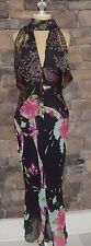 Emanuel Ungaro Black Silk Evening Floral Deep V Front Dress Italy Sz 40(6) EUC
