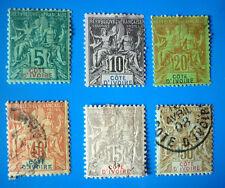 6 timbres COTE d'IVOIRE entre N° 4 et N° 17 1892 cote 116 E NEUF * et Oblitéré
