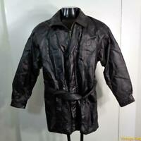 OSCAR PIEL Soft LEATHER JACKET Mens Size L black zippered insulated w/ liner