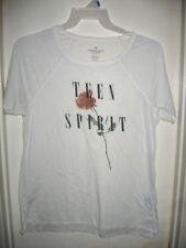 American Eagle Outfitters Teen Spirit Juniors White T-Shirt Rose Lightweight M