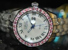 Invicta Women's Rare Wildflower Pink Crystal White MOP Dial Steel Watch 22876