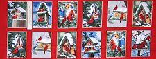 "15"" Fabric Panel - Windham Christmas Winter Cardinals Postcard Block Red"