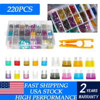 220PCS Mini Standard Blade Fuse Assortment Auto Car Truck Fuses Kit