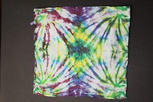 "Tie Dye Bandana 21"" x 21"" Purple Spiral Dance Multi-Color 100% cotton"
