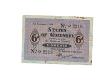More details for guernsey,  1942 sixpence on blue paper, a good crisp note, original condition