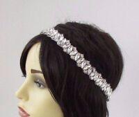 Silver Diamante Bridal Headpiece Headband Wedding Rhinestone Elastic Deco 3790