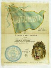 C.1910 Columbia University College Mascot Cheer Tobacco Silk Vintage Original