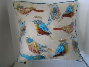 """Pier 1 Pillow  Embroidered Birds wearing Gold Crowns With Feather Complete 17"""""""