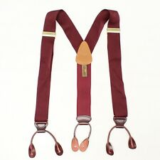 Trafalgar Mens Braces Suspenders Solid Burgundy Woven Nylon Leather Button Tab