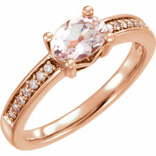 14k Rose Gold Diamond and Morganite Oval Ring