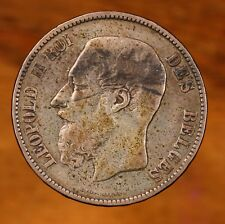 Raw 1873 Belgium 5F Circulated Silver Five 5 Francs Coin