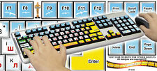 California Beach Background Computer Keyboard Stickers English & Russian Letter