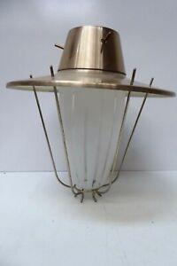 RETRO MID CENTURY ANODISED GLASS PENDANT LIGHT SHADE CEILING FIXTURE 1960s LAMP