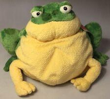 "Gund Plush Green Frog Bullfrog Yellow Frido Beanies # 32036 14"" Heavy Bean Bag"