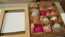 Vintage  Glass Christmas Tree Ornaments Set of 12    Striped Teardrop painted