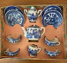 Blue Willow childs tea set, Occupied Japan in original box.