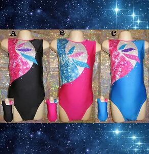 Gymnastics Leotard Girls Dance Sparkly Black Pink Blue Razzledazzle MADE IN UK