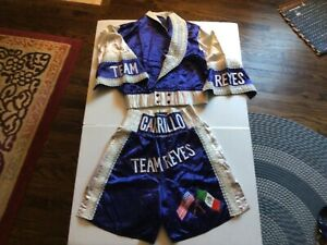 VTG TEAM REYES CARILLO BLUE Boxing Trunks & Jacket By BERTINELLI SZ S - Cool