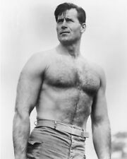 Clint Walker Bare Chested Beefcake B&W 16x20 Canvas Giclee