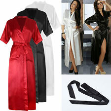 Womens Silk Stain Kimono Dressing Gown Bath Robe Babydoll Nightdres G-string