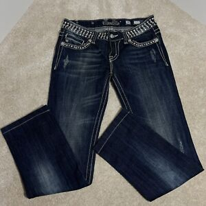 Miss Me Women Denim Blue Straight Jeans Embellished With Stones Size 28
