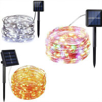 Outdoor Solar Powered 10M 33Ft 100-LED Copper Wire Light String Fairy Xmas Party