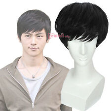 USA Ship Men's Fashion Toupees Black 25cm Short Straight Hair Wigs + Wig Cap