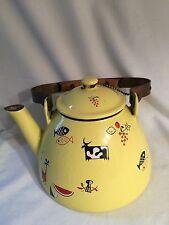 &Vintage 1950's Yellow Cast Iron tea pot Robert Markley Descoware Belgium