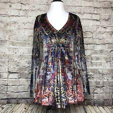Boston Proper Printed V-Neck Velvet Velour Jewel Long Sleeve Blouse Size XS