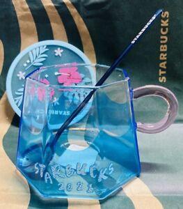 2021 Starbucks Japan Creative Fuji Glass cup w/ spoon Sakura Coaster Coffee mugs