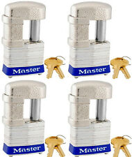 Lock Set by Master 37KA (lot of 4) Keyed Alike Shrouded Laminated Padlocks New