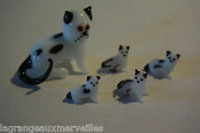 C44 Ensemble de déco de petits chats en verre peint à la main