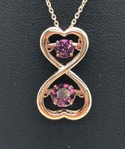 """Sterling Silver 925 Rose Gold Tone Pink Tourmaline Twisted Heart Necklace 18"""""""