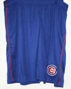 Mens Majestic MLB Chicago Cubs Blue Polyester Logo Baseball Shorts