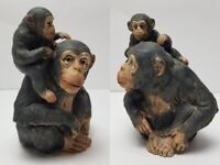 """Vintage UCTCI Pottery Chimpanzee Momma Baby Figurines Japan RARE Numbered 7"""""""