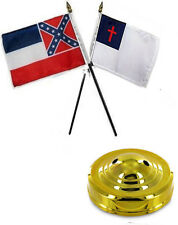 "State Mississippi & Christian 4""x6"" Flag Desk Set Table Stick Gold Base"