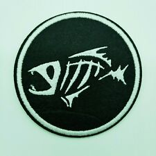 "FISH SKELETON - Embroidered Iron On Patch 3 "" - FISHING"