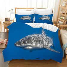 3D Blue Shark Quilt Cover Set Bedding Duvet Cover Double/Queen/King 3pcs 37