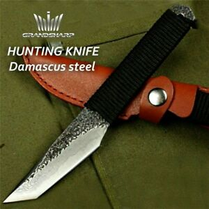Tanto Knife Fixed Blade Hunting Combat Tactical Survival Forged Damascus Steel S