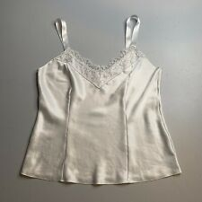 ST MICHAEL M&S • White Satin Lace Trim Camisole Top • Size 16