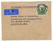 AB364 1950 Zanzibar OFFICIAL OZGS Cover London SAILING CANOE {samwells-covers}