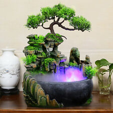 Waterfall Rockery Desktop Fountain Fog LED Lamp Color Changing Home Office Decor