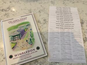 Wimbledon 2008 final Programme and order of play cards