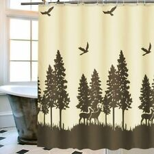 Deer Beige Brown Forest Silhouette Fabric Shower Curtain Hooks Farmhouse Rustic