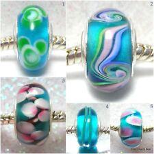 'AZURE BLUES' -  Blue murano glass european charm beads - Various designs