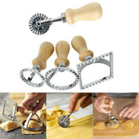 Pasta Hand Press Embossed Dumpling Mold Wooden handle Stainless Steel tools Set