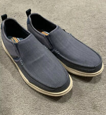 Men's 10 Skechers Relaxed Air-cooled Memory Foam Denim Blue Gray Slip On Shoes