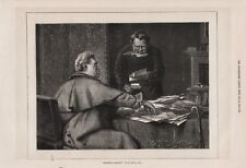 OLD ANTIQUE 1876 ENGRAVING / PRINT SQUARING ACCOUNTS BY E NICOL  b77