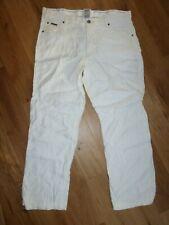 Armani Collezioni cream linen blend straight leg trousers W 38 L 30 VGC